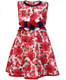 Babyhug Party Wear Frock with Flower Applique Line on Waist - Red