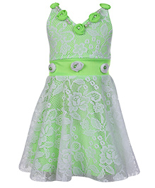 Babyhug Singlet Netted Party Wear Frock - Green and White