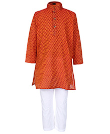 Babyhug Full Sleeves Printed Kurta And Pajama Set - Orange