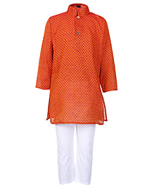 Babyhug Full Sleeves Orange Kurta And Pajama Set