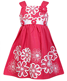 Babyhug Singlet Party Wear Frock With Floral Applique - Pink and White