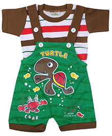 Babyhug Dungaree With Half Sleeves T Shirt Brown and Green- Turtle Print