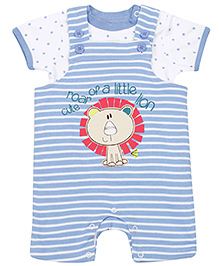 FS Mini Klub Half Sleeves T Shirt with Dungaree - Blue