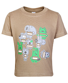 Fun Half Sleeves T-Shirt Brown - Animal Print