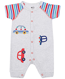 FS Mini Klub Short Sleeves Romper with Car Patch Stitched - Grey