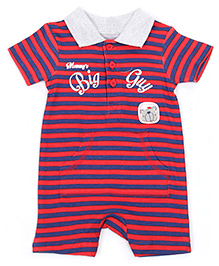 FS Mini Klub Half Sleeves Polo Neck Romper with Stripe Print - Red and Blue