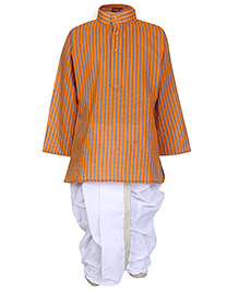 Bhartiya Paridhan Full Sleeves Kurta and Dhoti Set - Orange and White