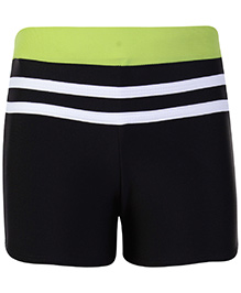Freestyle Swimming Trunks With Contrast Waistband - Black And Green