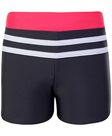Freestyle Swimming Trunks With Contrast Waistband - Black And Pink