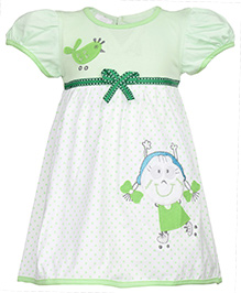 SAPS Short Sleeves Frock Green - Bird Patch Work