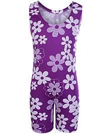 Bosky Sleeveless Legging Style Swimwear Flower Print - Purple