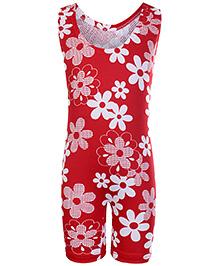 Bosky Sleeveless Legging Style Swimwear Flower Print - Red