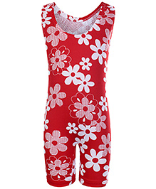 Bosky Sleeveless Legging Style Swimwear Flower Print - Red