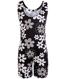 Bosky Sleeveless Legging Style Swimwear Flower Print - Black