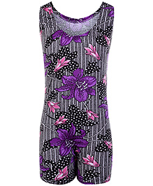 Bosky Sleeveless Legging Style Swimwear Flower Print - Purple And Black
