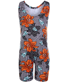 Bosky Sleeveless Legging Style Swimwear Flower Print - Orange And Black