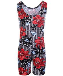 Bosky Sleeveless Legging Style Swimwear Flower Print - Red And Black