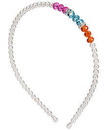 Stol'n Pearl Detail Hairband With Multi Colour Studded Stones