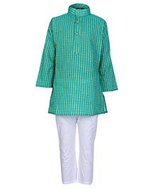 Bhartiya Paridhan Full Sleeves Kurta and Pyjama Set - Sea Green and White