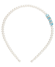 Stol'n Pearl Detail Hairband With Blue Studded Stones - Free Size