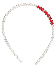 Stol'n Pearl Detail Hairband With Red Studded Stones