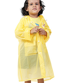 Babyhug Plain Raincoat With Hood - Yellow