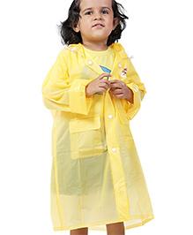 Babyhug Plain Raincoat With Hood - Yellow