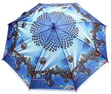 Fab N Funky Kids Umbrella Blue - Racer Bikes Print