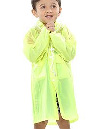 Babyhug Plain Raincoat With Hood - Green