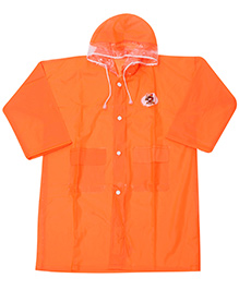 Babyhug Plain Raincoat With Hood - Orange