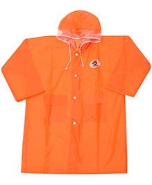 Babyhug Plain Raincoat With Hood - Orange