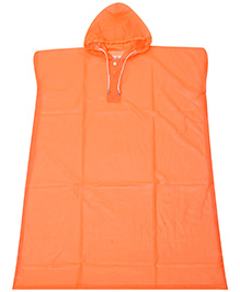 Babyhug Poncho Style Raincoat With Hood - Orange
