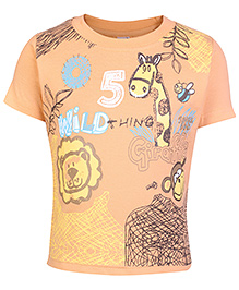 Fun Half Sleeves T-Shirt Orange - Giraffe Print