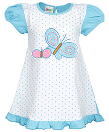 SAPS Puff Sleeves A Line Frock Blue - Butterfly Applique