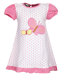 SAPS Puff Sleeves A Line Frock Pink - Butterfly Applique