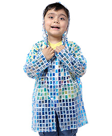 Babyhug Hooded Raincoat with Check Print - Blue