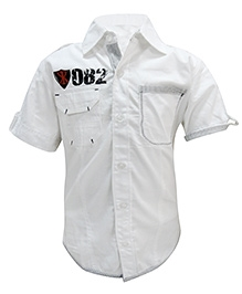Via Italia Half Sleeves Badge Shirt - White
