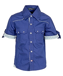 Cool Quotient Half Sleeves Shirt Royal Blue