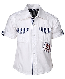 Cool Quotient Half Sleeves Shirt White - Flap Pockets