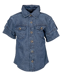 Cool Quotient Double Sleeves Denim Shirt - Blue