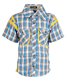 Cool Quotient Half Sleeves Checkered Shirt - Grey And Blue