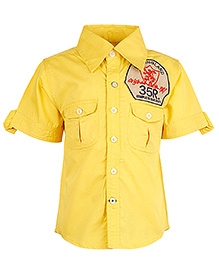 Cool Quotient Half Sleeves Shirt With Box Pockets - Yellow