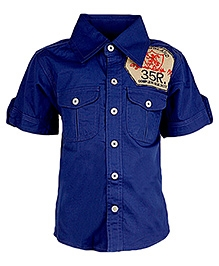 Cool Quotient Half Sleeves Shirt With Box Pockets - Royal Blue