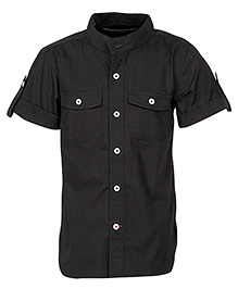 Cool Quotient Half Sleeves Shirt Black - Chinese Collar