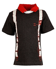 Cool Quotient Half Sleeves Polo T Shirt Brown - Suspender Print