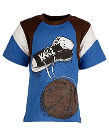 Cool Quotient Half Sleeves T Shirt Blue - Shoe Ball Print