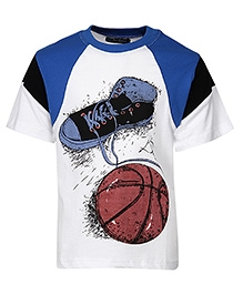 Cool Quotient Half Sleeves T Shirt White - Shoe Ball Print