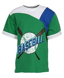 Cool Quotient Half Sleeves T-Shirt Green - Baseball Print