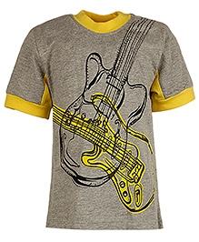 Cool Quotient Half Sleeves T Shirt Grey - Guitar Print