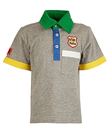 Cool Quotient Half Sleeves Polo T-Shirt Grey - Contrast Colour Collar